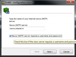 Newsserver adres invoeren