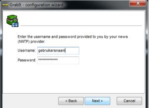 Grabit gebruikersnaam en wachtwoord
